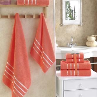 Подарочный набор полотенец для ванной Karna BALE хлопковая махра 50х80 2 шт., 70х140 2 шт. коралловый