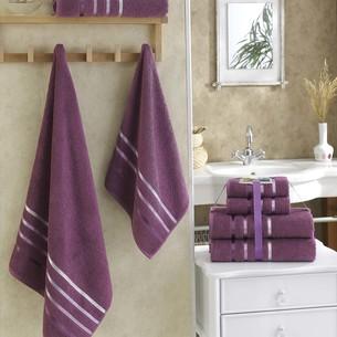 Подарочный набор полотенец для ванной Karna BALE хлопковая махра 50х80 2 шт., 70х140 2 шт. светло-лавандовый
