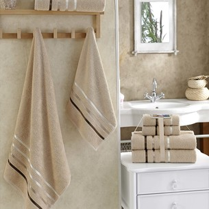 Подарочный набор полотенец для ванной Karna BALE хлопковая махра 50х80 2 шт., 70х140 2 шт. бежевый
