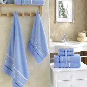 Подарочный набор полотенец для ванной Karna BALE хлопковая махра 50х80 2 шт., 70х140 2 шт. голубой