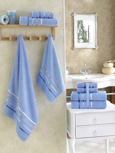 Подарочный набор полотенец для ванной Karna BALE хлопковая махра 50х80 2 шт., 70х140 2 шт. голубой, фото, фотография
