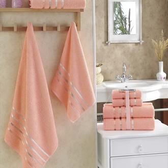 Подарочный набор полотенец для ванной Karna BALE хлопковая махра 50х80 2 шт., 70х140 2 шт. абрикосовый