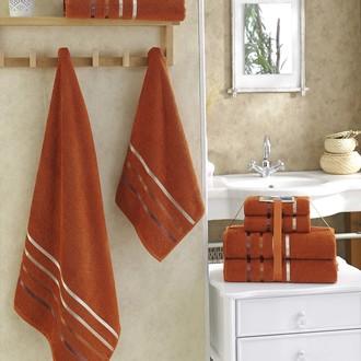Подарочный набор полотенец для ванной Karna BALE хлопковая махра 50х80 2 шт., 70х140 2 шт. кирпичный