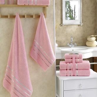 Подарочный набор полотенец для ванной Karna BALE хлопковая махра 50*80(2), 70*140(2) (розовый)