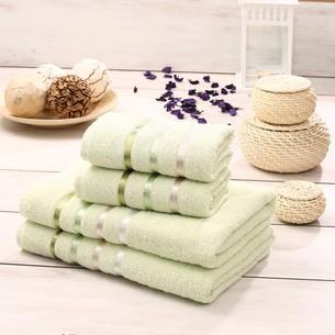 Подарочный набор полотенец для ванной Karna BALE хлопковая махра 50х80 2 шт., 70х140 2 шт. светло-зелёный