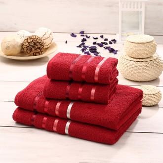 Подарочный набор полотенец для ванной Karna BALE хлопковая махра 50*80(2), 70*140(2) (красный)