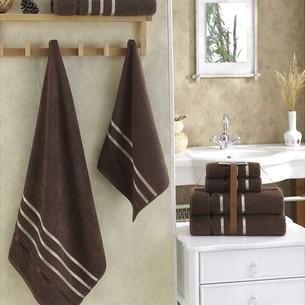 Подарочный набор полотенец для ванной Karna BALE хлопковая махра 50х80 2 шт., 70х140 2 шт. коричневый