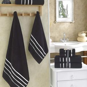 Подарочный набор полотенец для ванной Karna BALE хлопковая махра 50х80 2 шт., 70х140 2 шт. чёрный