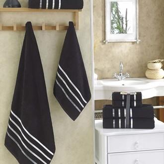 Подарочный набор полотенец для ванной Karna BALE хлопковая махра 50*80(2), 70*140(2) (чёрный)