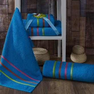 Подарочный набор полотенец для ванной Karna BALE NEON хлопковая махра 50*80, 70*140 (бирюзовый)