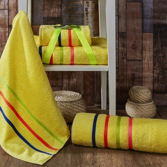 Подарочный набор полотенец для ванной Karna BALE NEON хлопковая махра 50*80, 70*140 (жёлтый)