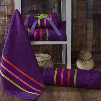 Подарочный набор полотенец для ванной Karna BALE NEON хлопковая махра 50*80, 70*140 (фиолетовый)