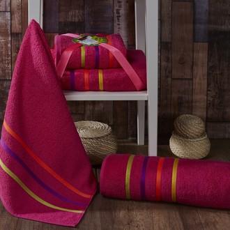 Подарочный набор полотенец для ванной Karna BALE NEON хлопковая махра 50*80, 70*140 (малиновый)