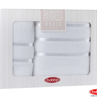Подарочный набор полотенец для ванной Hobby Home Collection DOLCE хлопковая махра 2 пр. (белый)