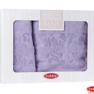 Подарочный набор полотенец для ванной Hobby Home Collection VERSAL хлопковая махра 2 пр. лиловый