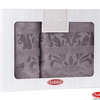 Подарочный набор полотенец для ванной Hobby Home Collection VERSAL хлопковая махра 2 пр. серый