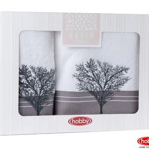 Подарочный набор полотенец для ванной Hobby Home Collection INFINITY хлопковая махра 2 пр. белый