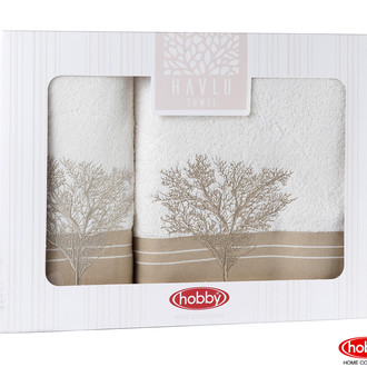 Подарочный набор полотенец для ванной Hobby Home Collection INFINITY хлопковая махра 2 пр. кремовый