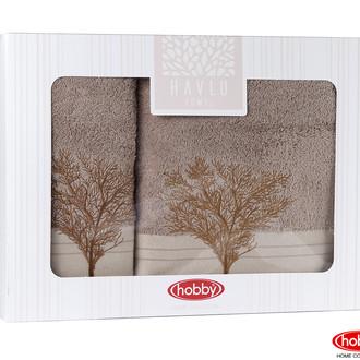 Подарочный набор полотенец для ванной Hobby Home Collection INFINITY хлопковая махра 2 пр. (светло-коричневый)