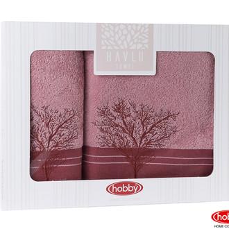 Подарочный набор полотенец для ванной Hobby Home Collection INFINITY хлопковая махра 2 пр. светло-розовый