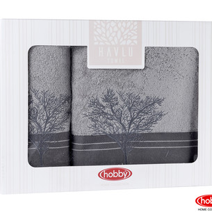 Подарочный набор полотенец для ванной Hobby Home Collection INFINITY хлопковая махра 2 пр. серый