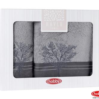Подарочный набор полотенец для ванной Hobby Home Collection INFINITY хлопковая махра 2 пр. (серый)