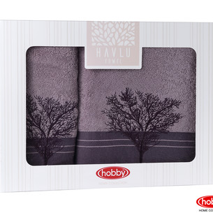 Подарочный набор полотенец для ванной Hobby Home Collection INFINITY хлопковая махра 2 пр. фиолетовый