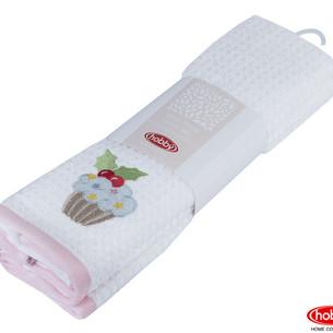 Набор кухонных полотенец Hobby Home Collection CANDY хлопковая махра розовый, белый 40х60 2 шт.