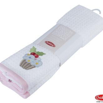 Набор кухонных полотенец Hobby Home Collection CANDY хлопковая махра розовый, белый