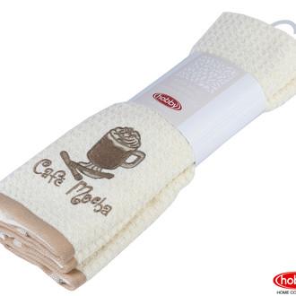 Набор кухонных полотенец Hobby Home Collection CANDY хлопковая махра (светло-коричневый, кремовый)