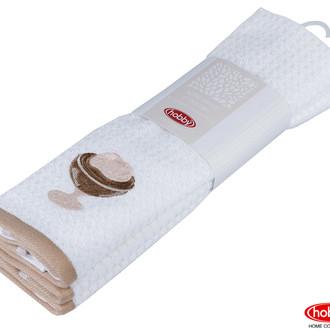 Набор кухонных полотенец Hobby Home Collection CANDY хлопковая махра светло-коричневый, белый
