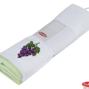 Набор кухонных полотенец Hobby Home Collection CANDY хлопковая махра зелёный, белый 40х60 2 шт.