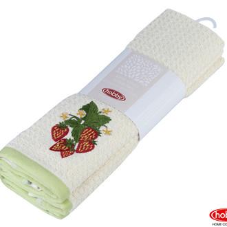 Набор кухонных полотенец Hobby Home Collection CANDY хлопковая махра зелёный, кремовый
