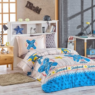 Постельное белье Hobby Home Collection SKATEBOARD хлопковый поплин синий 1,5 спальный
