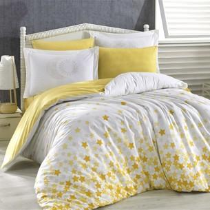 Постельное белье Hobby Home Collection STAR'S хлопковый поплин жёлтый 1,5 спальный