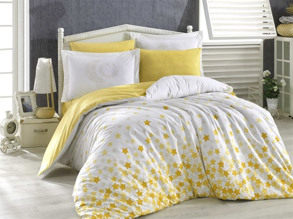 Комплект постельного белья Hobby Home Collection STAR'S хлопковый поплин (жёлтый) 1,5 спальный, фото, фотография