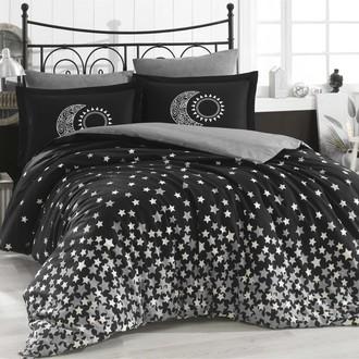 Комплект постельного белья Hobby Home Collection STAR'S хлопковый поплин (чёрный)