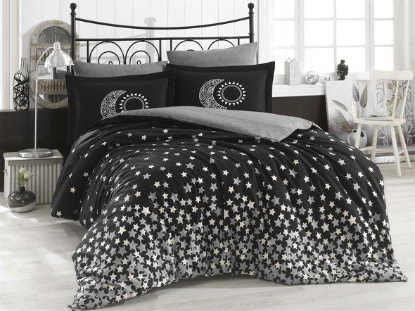 Постельное белье Hobby Home Collection STAR'S хлопковый поплин (чёрный) 1,5 спальный, фото, фотография