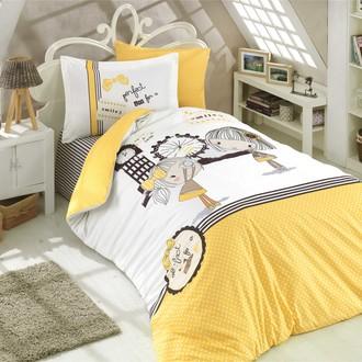 Комплект постельного белья Hobby Home Collection SMILE хлопковый поплин (жёлтый)