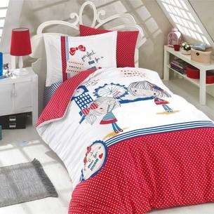 Постельное белье Hobby Home Collection SMILE хлопковый поплин красный 1,5 спальный