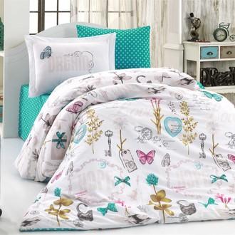 Комплект постельного белья Hobby Home Collection ROSELLA хлопковый поплин (бирюзовый)