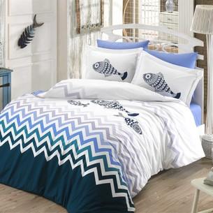 Постельное белье Hobby Home Collection OCEAN хлопковый поплин синий евро