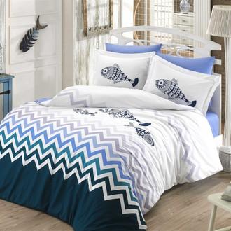 Комплект постельного белья Hobby Home Collection OCEAN хлопковый поплин (синий)