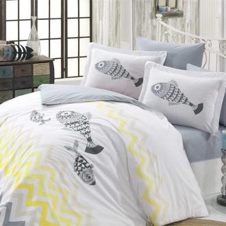 Комплект постельного белья Hobby Home Collection OCEAN хлопковый поплин (серый)