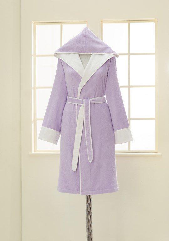 Халат женский Soft Cotton NEHIR хлопковая/бамбуковая махра лиловый M, фото, фотография
