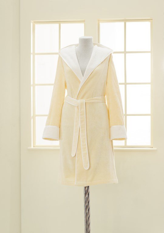 Халат женский Soft Cotton NEHIR хлопковая/бамбуковая махра жёлтый M, фото, фотография