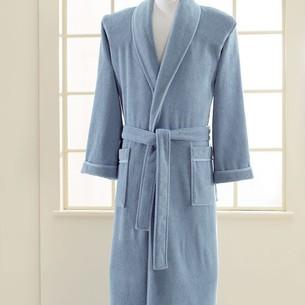 Халат мужской Soft Cotton LORD хлопковая махра голубой XL