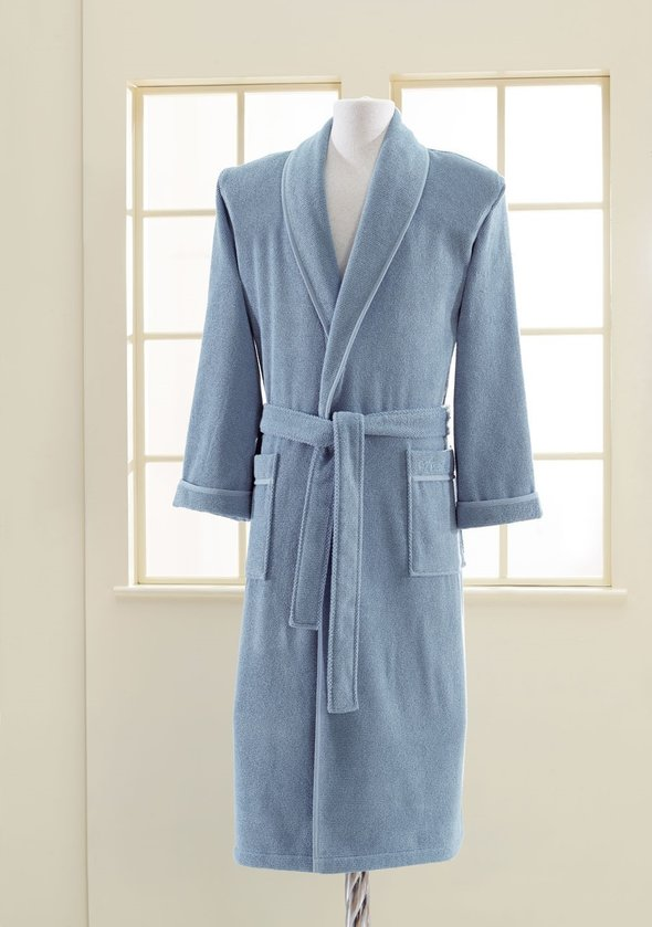 Халат мужской Soft Cotton LORD хлопковая махра (голубой) S, фото, фотография