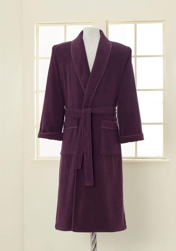 Халат мужской Soft Cotton LORD хлопковая махра фиолетовый 2XL, фото, фотография