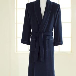 Халат мужской Soft Cotton LORD хлопковая махра тёмно-синий XL